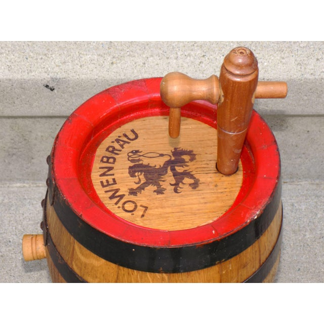 Wood Lowenbrau Beer Wood Keg & Base For Sale - Image 7 of 11