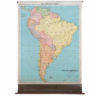 Antique Nystrom Pull Down Map of South America For Sale