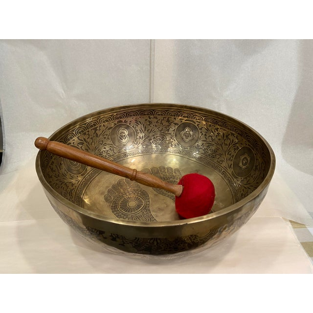 Mid 20th Century Hand Made Singing Bowl with Mallet - 2 Pieces For Sale - Image 13 of 13