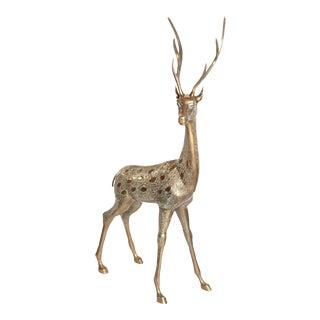 Life-Size Brass Deer Sculpture