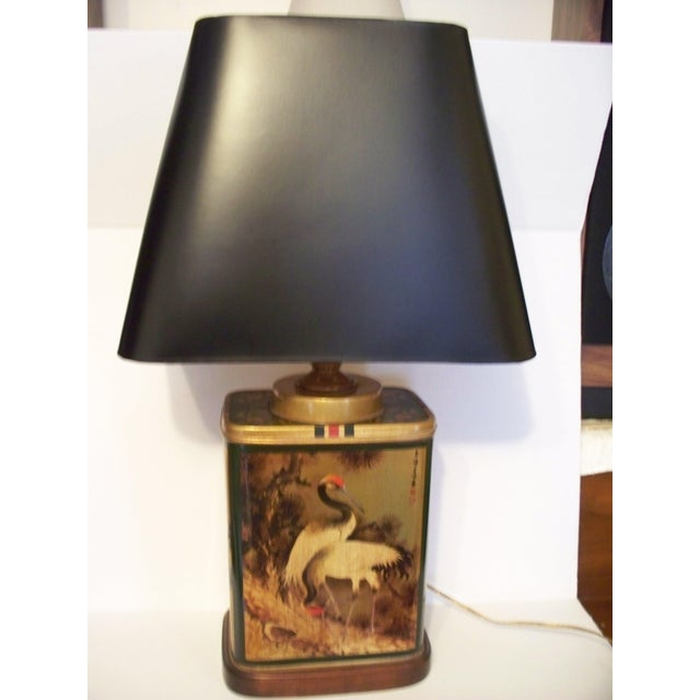 Asian Vintage Frederick Cooper Tea Canister Table Lamp With Shade For Sale - Image 3 of 11