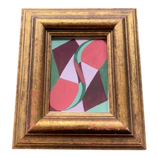 1950's Miniature Abstract Painting in Vintage Frame For Sale