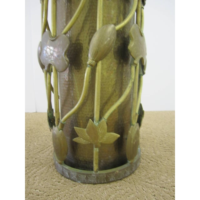 Brass Umbrella Stand in the Art Nouveau Style For Sale - Image 9 of 11