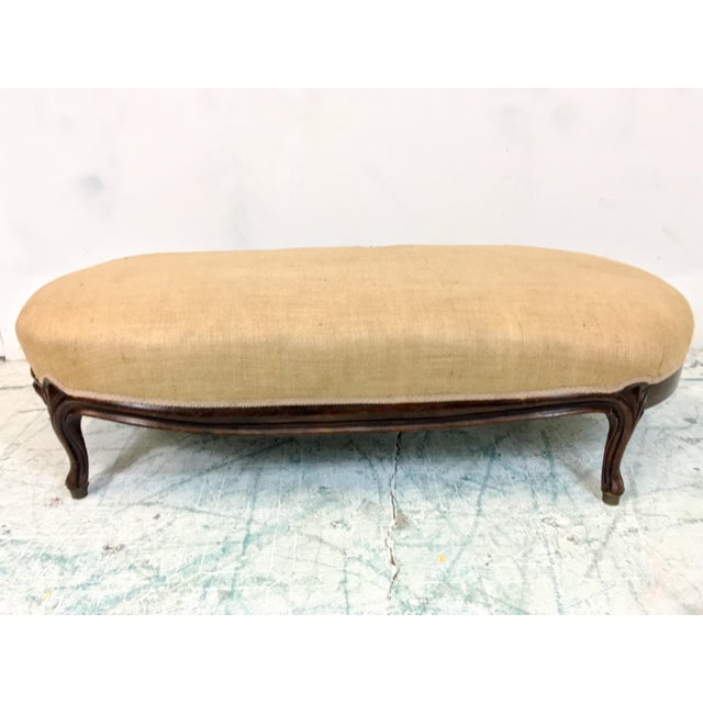 1920s French Ottoman in Burlap - Image 2 of 6