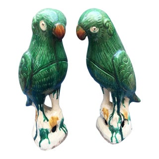 Chinese Majolica Parrots, a Pair For Sale