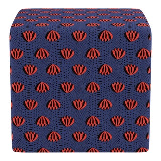 Cube Ottoman in Blue Lotus For Sale