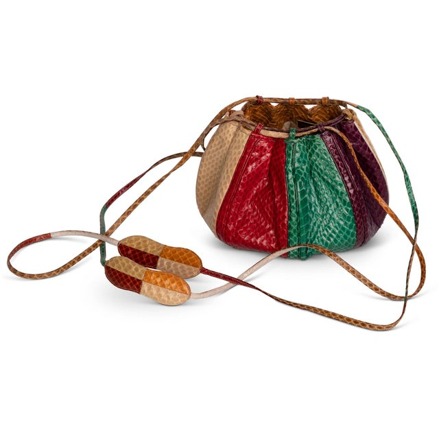 Red 1980s Judith Leiber Multicolored Snakeskin Beach Ball Shoulder Bag For Sale - Image 8 of 8