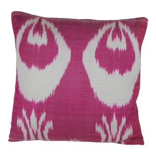 Silk Ikat Pink Pillow For Sale