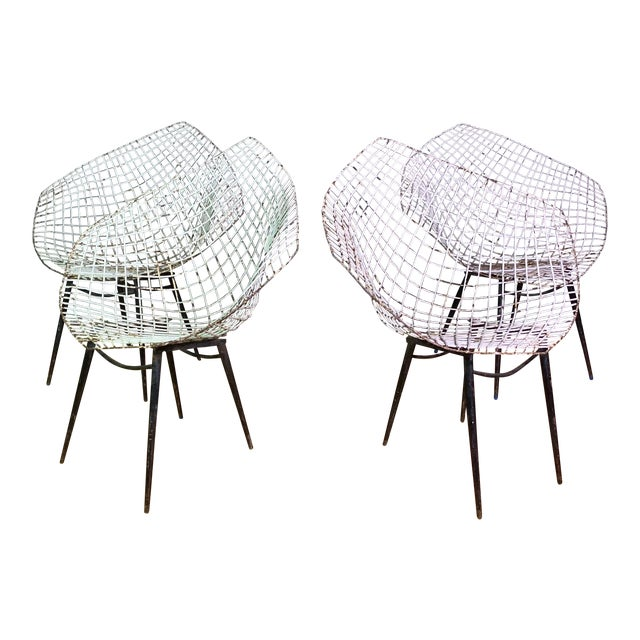 Set of 1970s Iron Diamond Outdoor Chairs, Manner of Bertoia For Sale