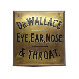 Dr. Wallace Vintage Brass Sign