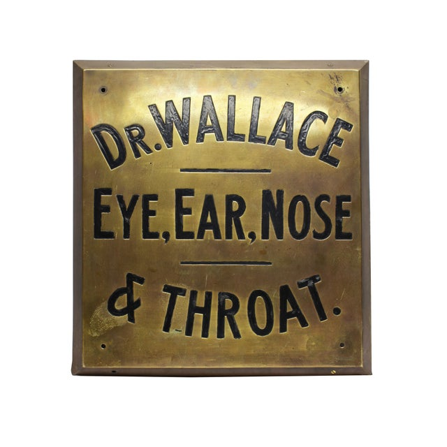 Dr. Wallace Vintage Brass Sign - Image 1 of 1