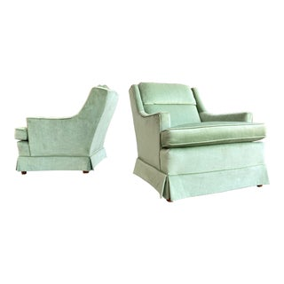 Hickory Hollywood Regency Jade Velvet Lounge Chairs -A Pair For Sale