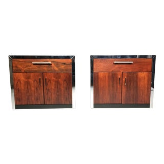 Pair of John Stuart Rosewood and Chrome Nightstands, USA, 1970s For Sale