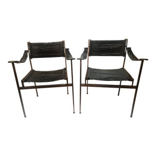 Vintage 1960s Pair of Designer Italian Mod Bronze Frame Black Patten Snake Print Embossed Leather Director Chairs Newly Upholstered For Sale