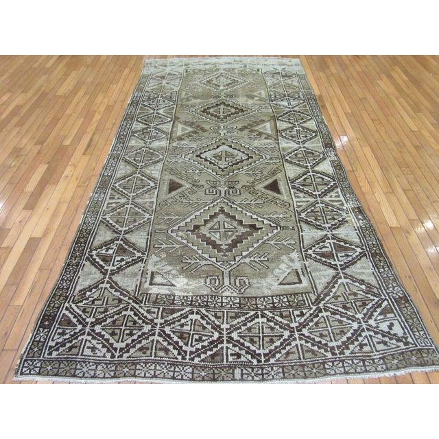 "Black 1960's Vintage Handmade Wool Turkish Anatolian Area Rug-4'10'x10'3"" For Sale - Image 8 of 10"