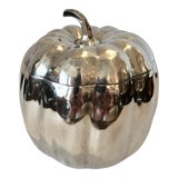 Image of Italian Silver Plated Pumpkin Ice Bucket by Teghini Firenze, C.1970 For Sale