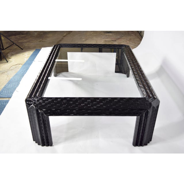 Lacquered Grasscloth Coffee Table by Baker - Image 6 of 9