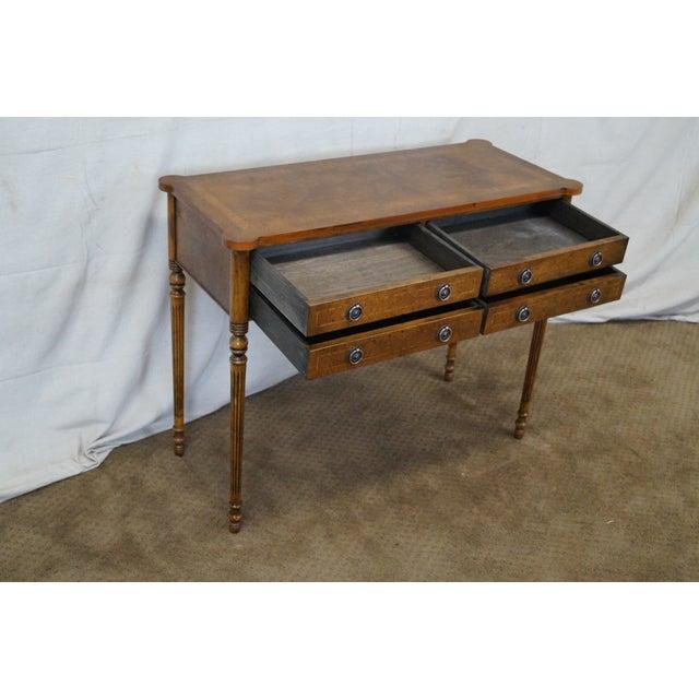 English Burl Walnut Sheraton Style Console Table For Sale In Philadelphia - Image 6 of 10