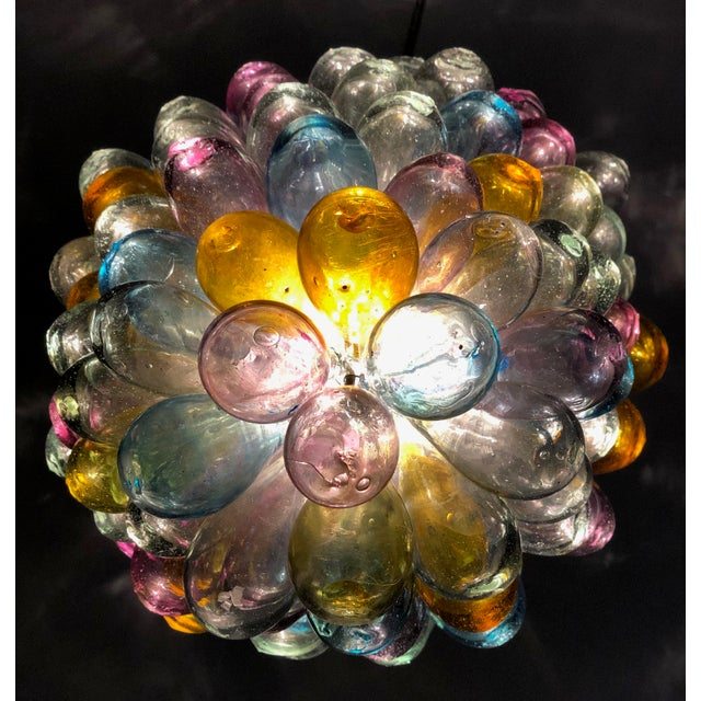Metal Soft Candy Colored Balloon Shape Light Fixture of Recycled Handblown Glass For Sale - Image 7 of 12
