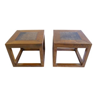 Pair Antique Stone Top Tables For Sale