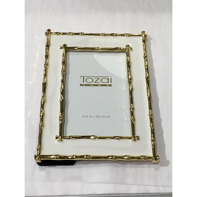 """Beautiful blush cream & gold enameled 4"""" x 6"""" picture frame. A classic style, this preppy frame will be great on your..."""
