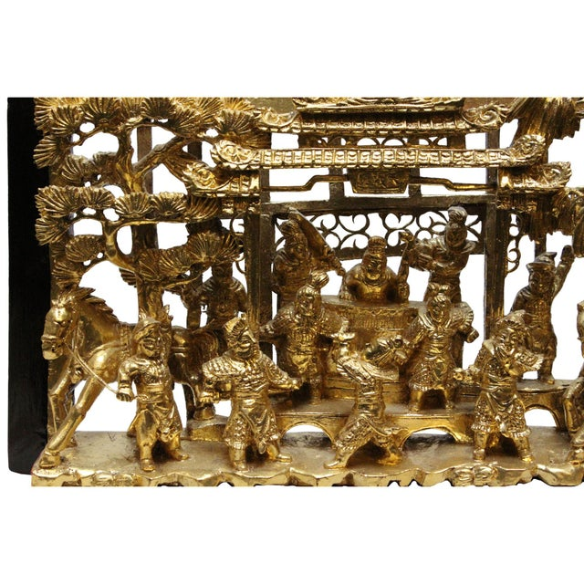 Wood Chinese Vintage Restored Warfield Opera Scenery Wooden Panel Wall Art For Sale - Image 7 of 9
