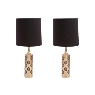 1970s Brutalist Laurel Embossed Brass Table Lamps - a Pair For Sale