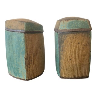 Studio Pottery Boxes - a Pair