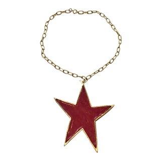 Modernist Red Resin Large Star Necklace For Sale