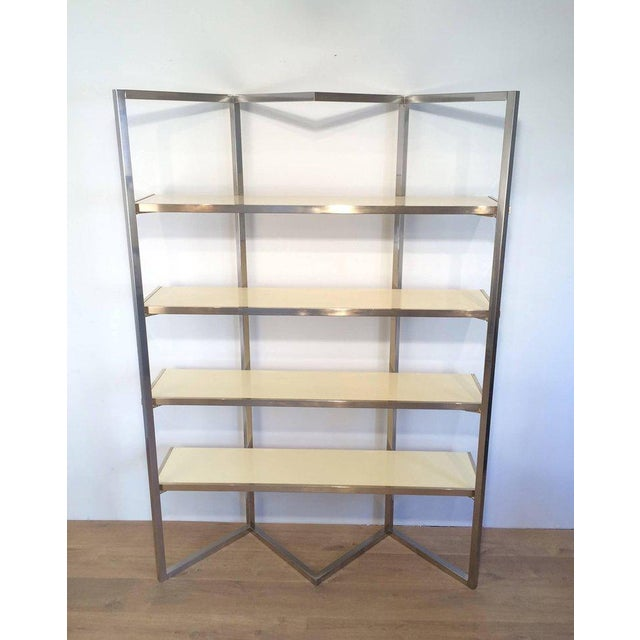 Chrome and Egg Shell Lacquered Etagere - Image 2 of 11