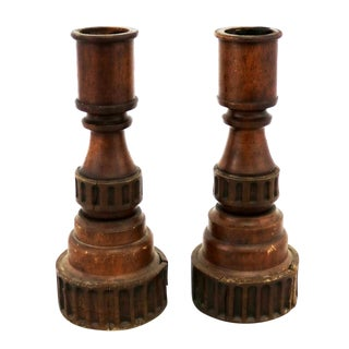 Pair Vintage Turned Wood and Composite Candle Holders For Sale