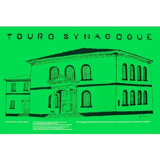"Ben Shahn Touro Synagogue 28"" X 42"" Poster 1974 Modernism Green For Sale"