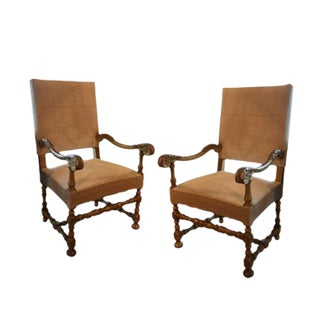 19th Century Italian Gilt Wood Armchairs With New Upholstery - a Pair