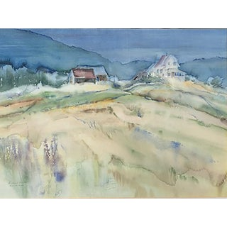 1960s Vintage Richard Alther Landscape Watercolor Painting For Sale