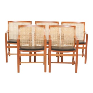 1980's Vintage Rud Thygesen and Johnny Sorensen King Series Cherry Armchairs- Set of 5 For Sale