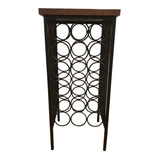 Industrial Stickley Cherry Wood and Metal Wine Rack For Sale