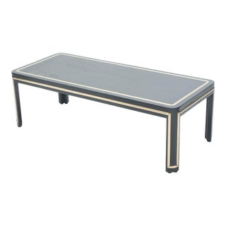 1940s French Black Wood and Brass Art Deco Coffee Table For Sale