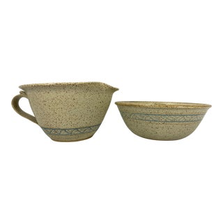 Vintage Stoneware Artisan Studio Pottery Batter Bowl & Bundt Pan - a Pair For Sale