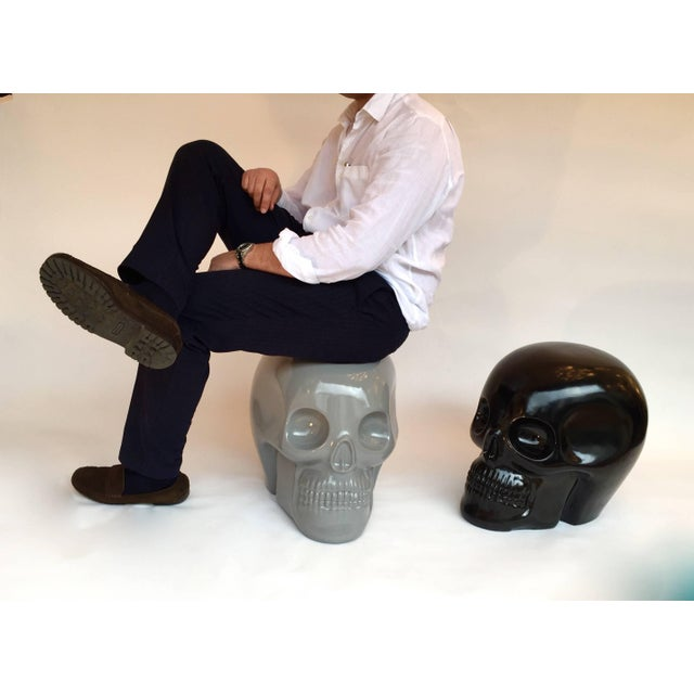 2000 - 2009 Stool Skull in Grey Ceramic by Antonio Cagianelli, Contemporary For Sale - Image 5 of 12