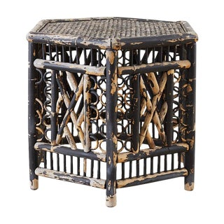 Hexagonal Bamboo Brighton Chinese Chippendale Drink Table For Sale