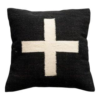 Square Wool Blend Swiss Cross Black & Cream Pillow For Sale