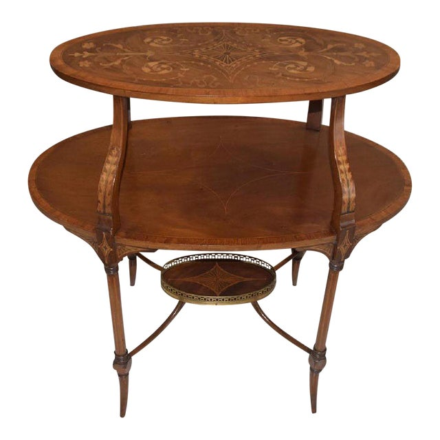 Antique English Mahogany Inlaid Three-Tiered Serving Table - Bottom Tier For Sale