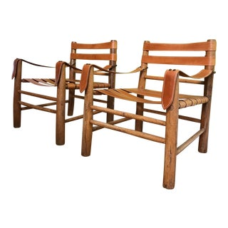 1960s Mid-Century Modern Leather Strap Safari Chairs - a Pair For Sale