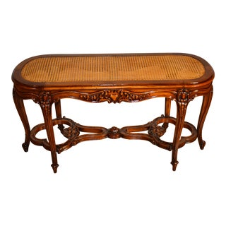 19th Century French Louis XV Carved Walnut & Cane Seat Bench For Sale