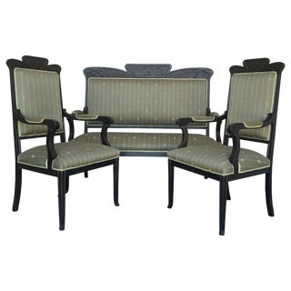 20th Black French Seating Set Sofa and Two Armchairs in the Louis Seize Style For Sale