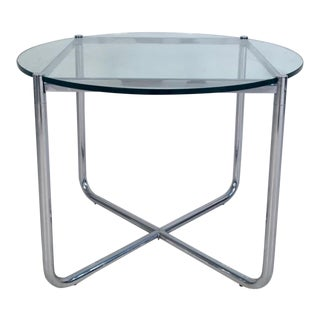 1970 Chrome and Glass Mr Side Table by Mies Van Der Rohe for Knoll For Sale