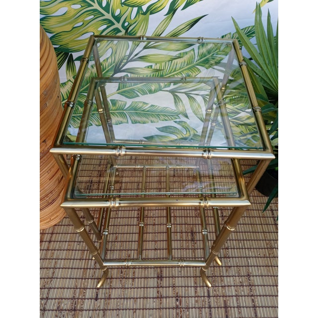 Mastercraft Palm Beach Regency Gold Faux Bamboo Square Set of 4 Glass and Metal Nesting Tables For Sale - Image 4 of 10