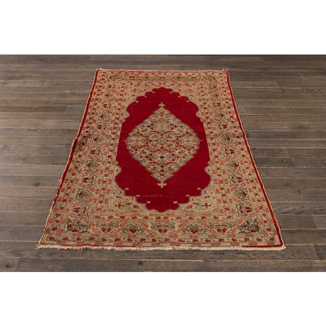 Antique Persian Kerman Rug 3'6'' X 5'2'' For Sale - Image 12 of 13