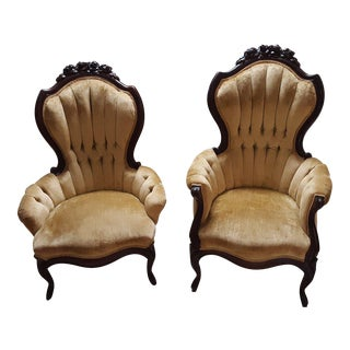 Victorian Gold Tufted Velvet Mahogany Wingback Parlor Chairs - a Pair For Sale