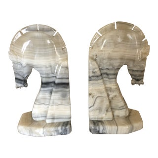 Mid Century Modurn Deco Style Marble Trojan Head Bookends - a Pair For Sale